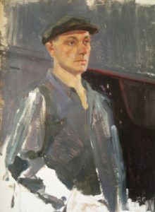 Worker in a cap. Cardboard, oil. 1960