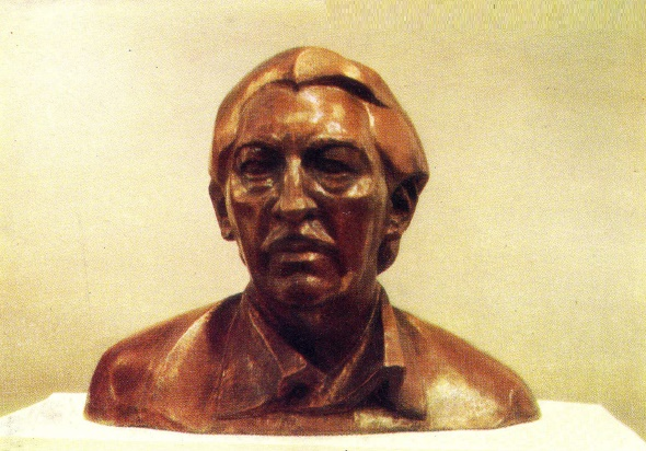 Cuban composer and conductor Enrique Gonzalez Mantichi. 1975. Forged copper