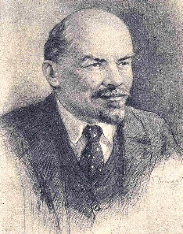 Drawing published in January 1955 magazine 'Peasant Woman'. Vladimir Ilyich Lenin