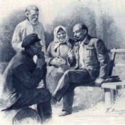 Drawing. Lenin in Gorki talks with the peasants, 1943