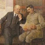 Lenin and Stalin in painting of Soviet artist Pyotr Vasilyev