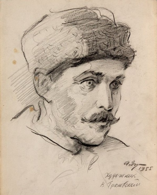 AS Zuev. Portrait of VG Grokhovsky. 1955. Pencil