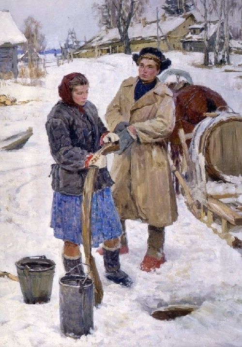 At the well. 1953. Soviet painter Sergei Tutunov
