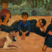 Children of a collective farm. 1970. Cardboard, oil