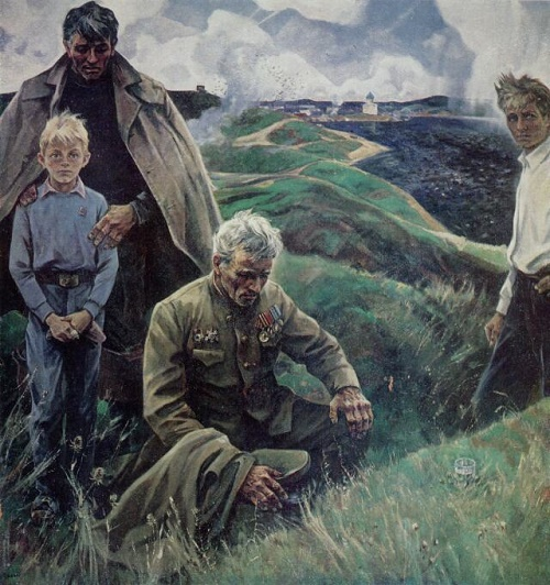 Fathers and sons. 1976. Soviet realist painter Alexey Yeryomin (March 17, 1919 – June 11, 1998)