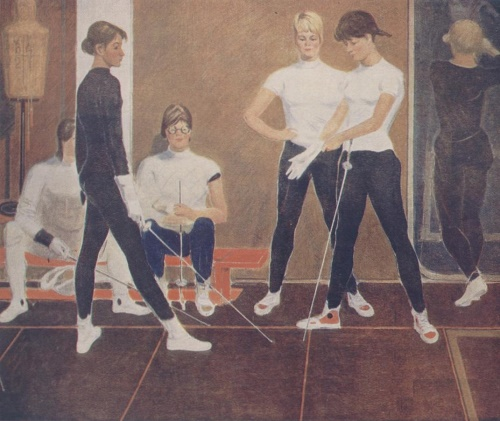 Fencers. 1965 thesis work. Soviet painter Alexandr Evgenievich Novgorodsky