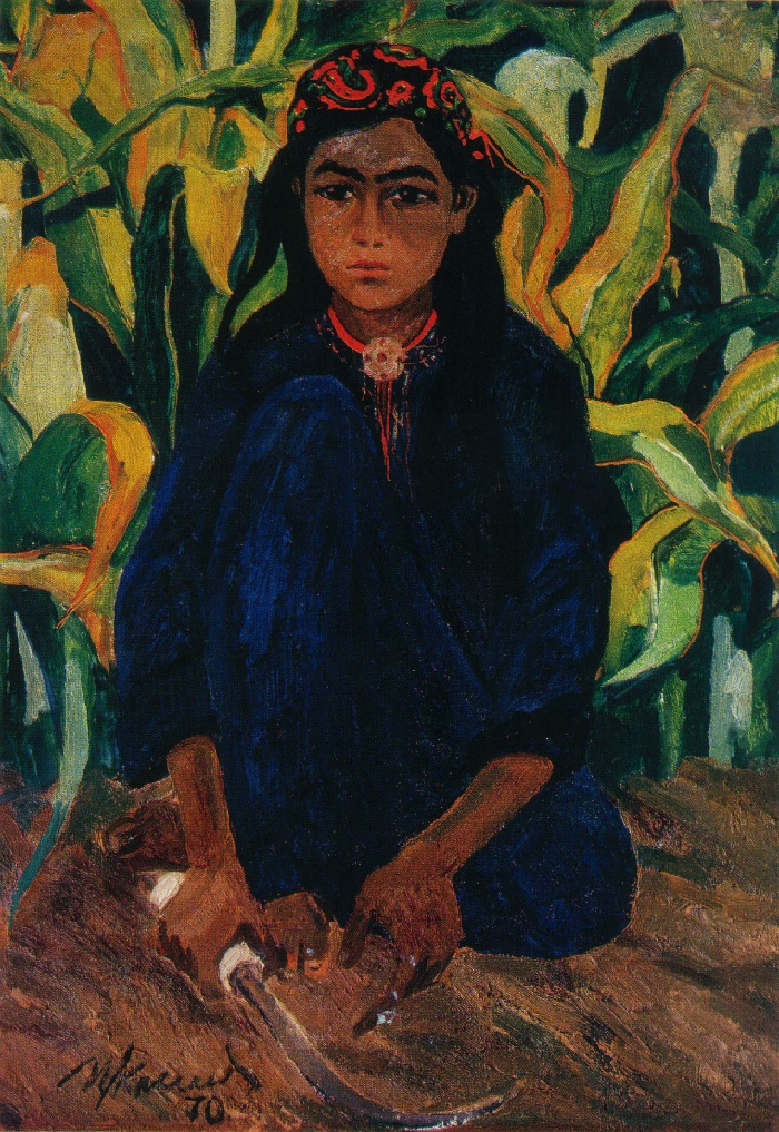 Girl with a sickle. 1970. Oil, canvas