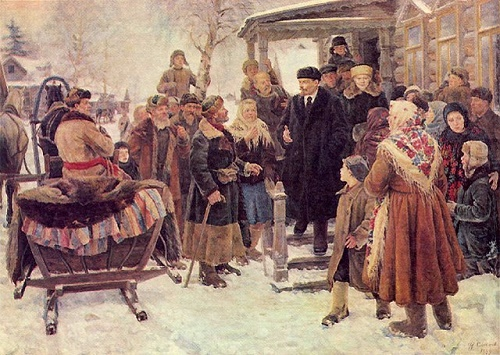 Lenin and Krupskaya among the peasants of the village Gorki in 1921. 1949. Moscow. The State Historical Museum