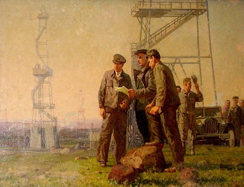 Morning of oil workers. Soviet Tatar artist Makhmut Usmanov (1918 - 2006)
