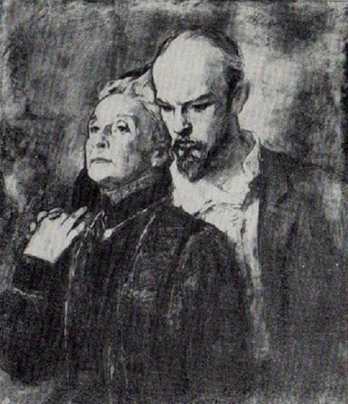 Mother and son. From the series Lenin in Moscow suburb, 1967. Soviet artist Oleg Dmitrievich Korovin 1915-2002