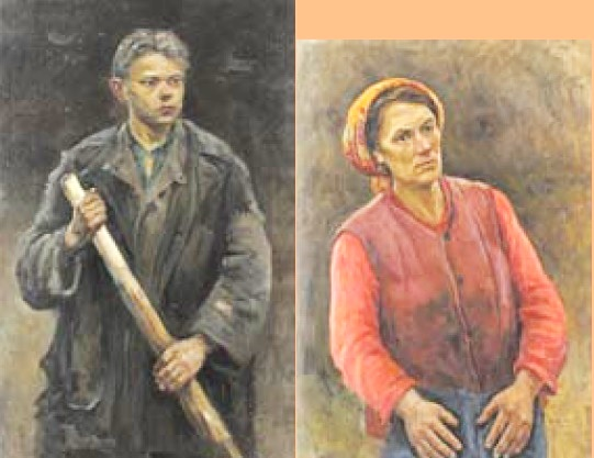 Peasant boy (1950), peasant woman (1957). Oil on canvas