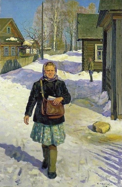 Postwoman. 1966. Soviet artist Nikolai Alexandrovich Sysoyev