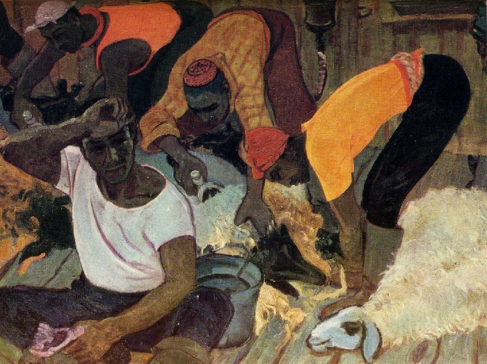 Shearing sheep. 1964. oil, canvas