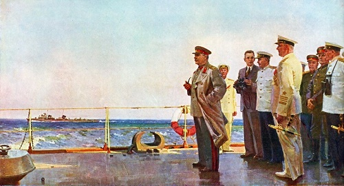 Stalin on the Cruiser 'Molotov'