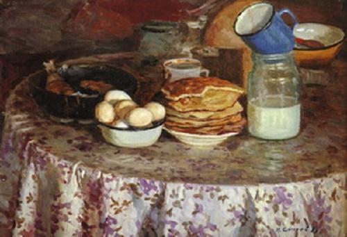 Socialist realism painting by Soviet artist Nikolai Alexandrovich Sysoyev