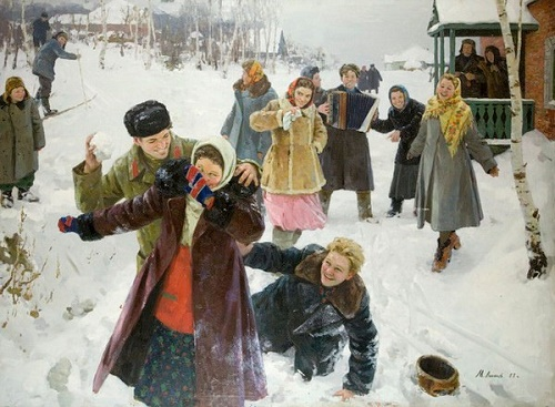 The day off. 1957. Painting by Soviet Russian artist Mikhail Likhachev