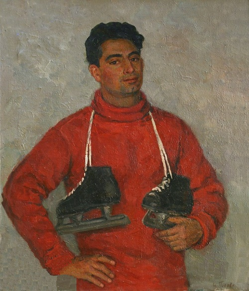To the skating rink. Portrait of V. Pereyaslavets, 1955