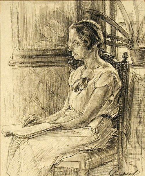 Village Teacher. 1937. Soviet Karelian artist Georgy Stronk