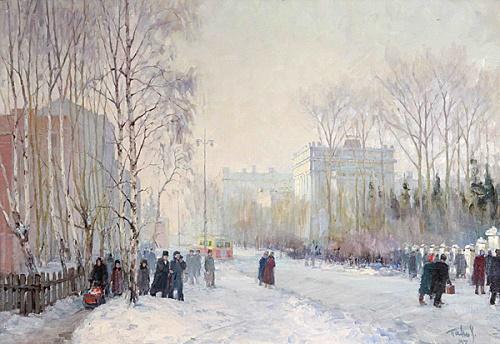 Timiryazev Prospect. Canvas, oil. Soviet artist Yakov Yakovlevich Panov 1919-1996