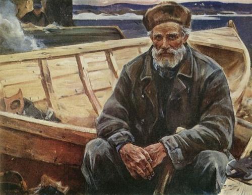 Zaonezhie master boatman Timofey Gerasimovich, 1974