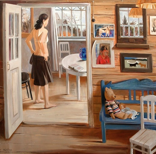 USSR home interior in painting. Agafya Belaya (1975). In the morning