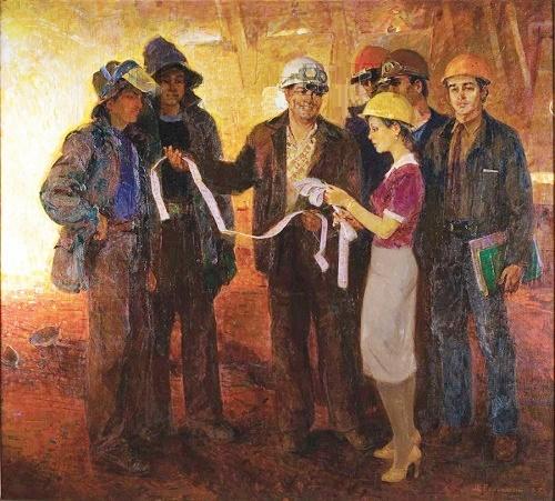 Azov still workers. 1985. Soviet artist Mikhail Gavrilovich Belsky (1922-1994)