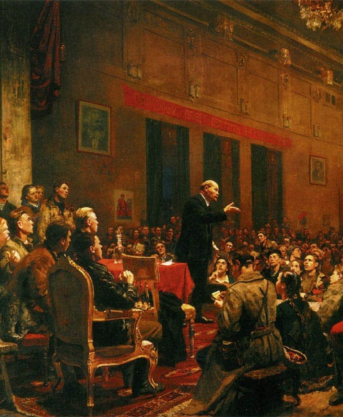 Speech of Lenin at the III Congress of the Komsomol. 1950, oil on canvas