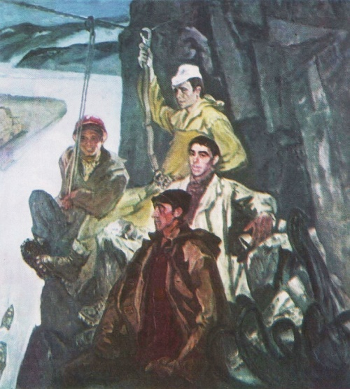 Builders-climbers of Sayan hydroelectric. Oil. 1974