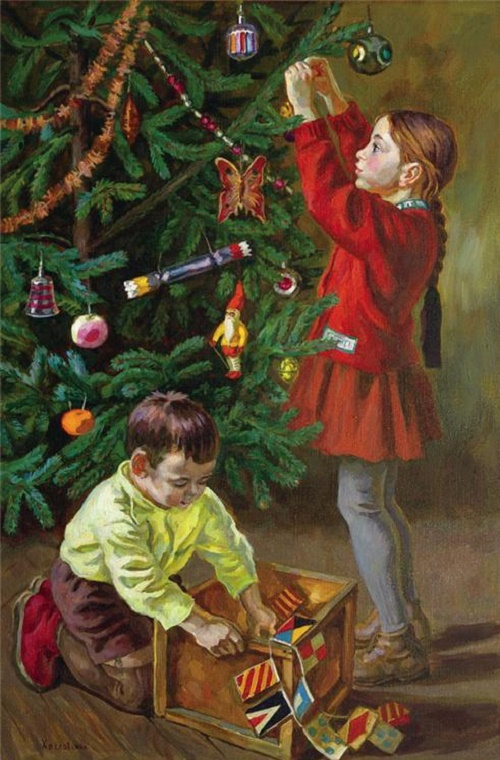 Children at Christmas tree. 1970