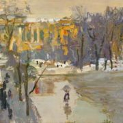 Leningrad thaw. Canvas on cardboard. 1960