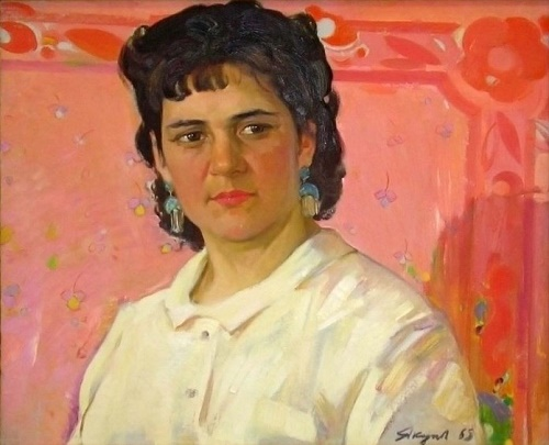 Portrait of Rushasn Yakupova, 1965. Painter Haris Yakupov. Oil on canvas