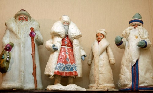Snegurochka and Father Frosts made papier mache