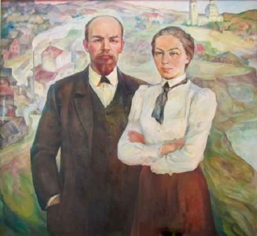 The Ulyanovs (Vladimir Lenin and Nadezhda Krupskaya). Painting by Soviet artist Viktor Nikolaevich Pegov (born November 6, 1938)