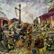 The junction railway station in 1919. 1928. Oil on canvas