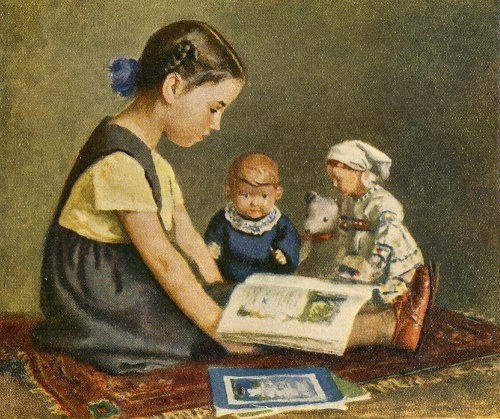 Xenia reads tale to dolls (daughter of the artist). 1950. Soviet graphic artist Igor Ivanovich Yershov (7 November, 1916 - 6 February, 1985)