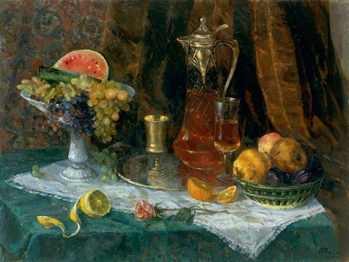 1965 oil painting Still life with fruit