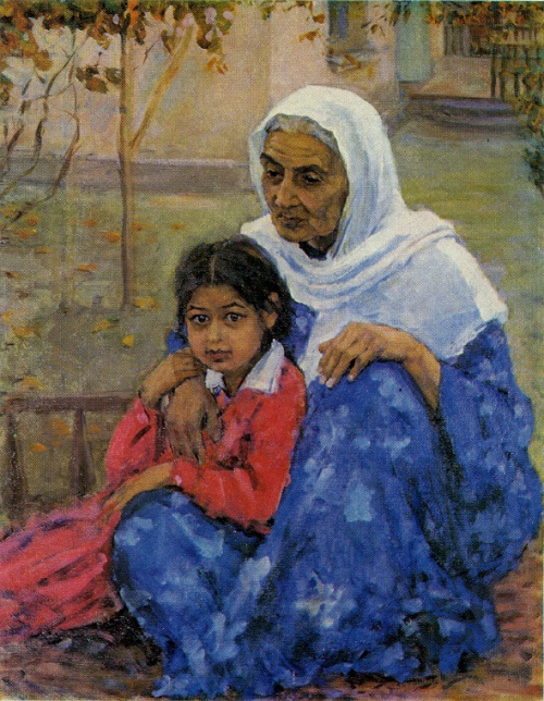 Grandmother and granddaughter. 1960. Tashkent art museum