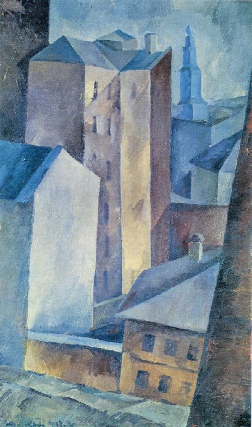Alexander Osmiorkin. 1892-1953. Houses. Town. 1917. Oil on canvas