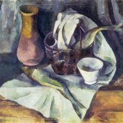 Alexander Osmiorkin. 1892-1953. Still life with Herring. 1920. Oil on canvas