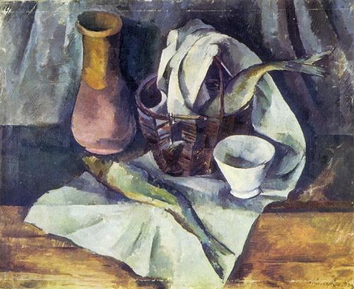 Alexander Osmiorkin. 1892-1953. Still life with Herring. 1920. Oil on canvas
