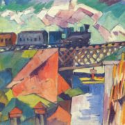 Aristarkh Lentulov. 1882-1943. Bridge with a passing train. Oil on canvas
