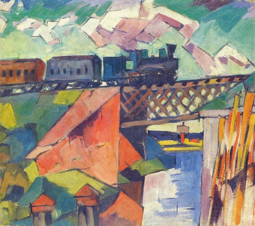 Aristarkh Lentulov. 1882-1943. Bridge with a passing train. Oil on canvas
