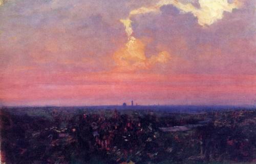 Arkhip Kuinji. 1842-1910. Sunset. Oil on cardboard