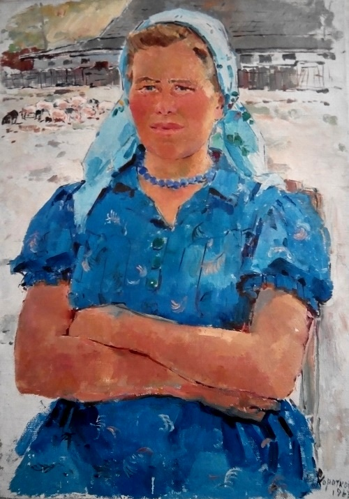 Best worker of pig farm Maria Tereshchenko from the collective farm Commintern of Sumy region. 1963