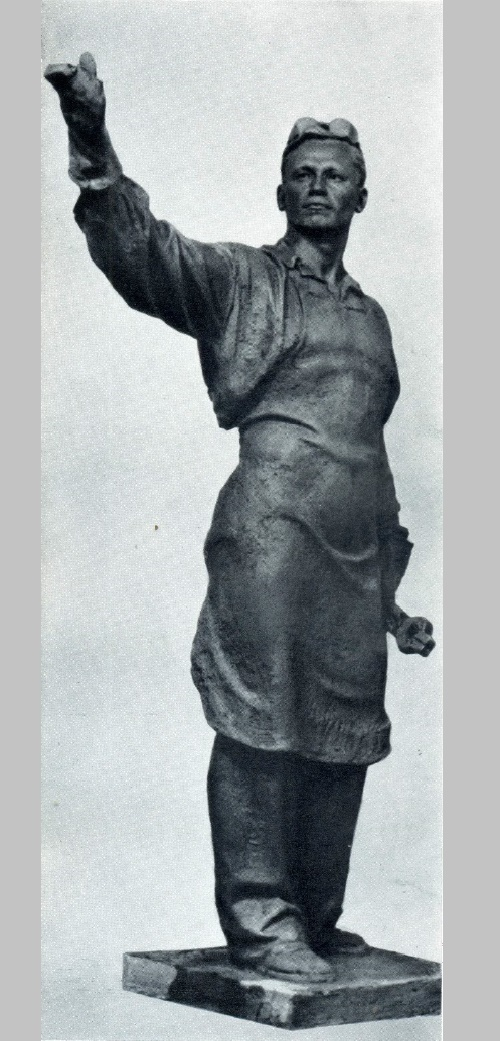 Black smith - innovator Alexandr Busygin. Tinted gypsum. 1937