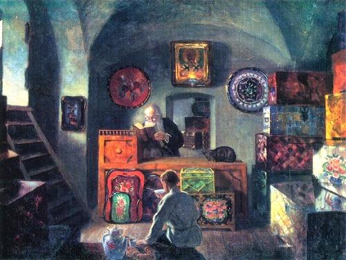 Boris Kustodiyev. At a chest-maker's. 1917. Oil on canvas