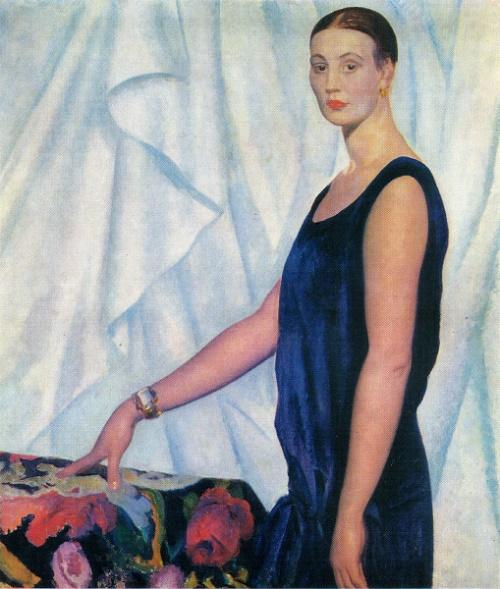 Boris Kustodiyev. Portrait of L. Gatsuk-Orshanskaya. 1926. Oil on canvas