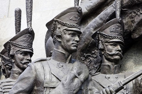 Brave heroes of 1812 war with Napoleon. Detail of monument to Kutuzov