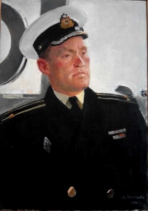 Captain of the ship M.V. Lumpov. Soviet harbor. 1966