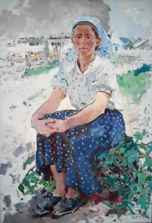 Milk farm worker Haritina Miroshnichenko of Comminern collective farm of Sumy region. 1963